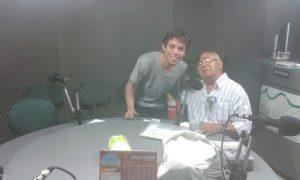Com o poeta Pedro Bandeira na rádio Verde Vale
